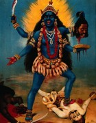 Credit: Wellcome Library, London. Wellcome Images images@wellcome.ac.uk http://images.wellcome.ac.uk Kali trampling Shiva. Chromolithograph by R. Varma. By: Ravi VarmaPublished: - Copyrighted work available under Creative Commons by-nc 2.0 UK, see http://images.wellcome.ac.uk/indexplus/page/Prices.html
